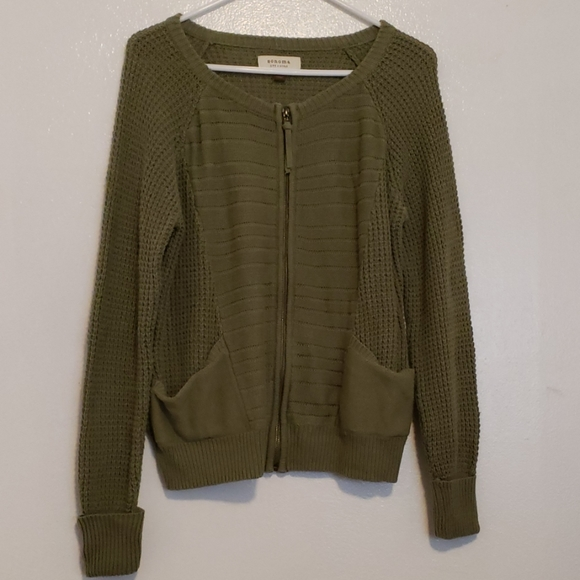 Sonoma Sweaters - Sonoma olive green zip sweater